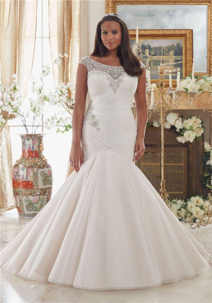 Jeweled Applique Mermaid Plus Size White Dress
