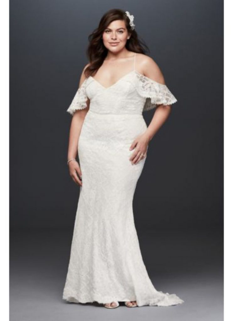 Lace Straps A Line Plus Size white Dress