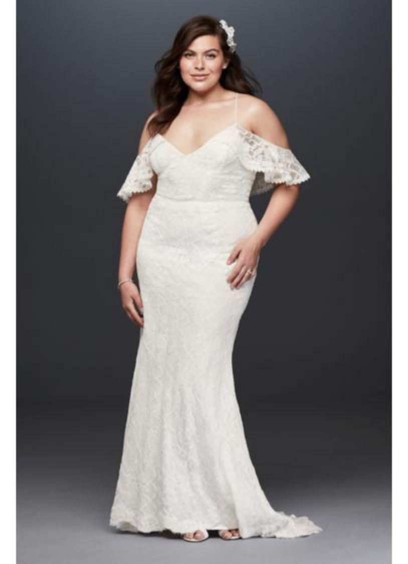 Lace Straps A Line Plus Size white Dress