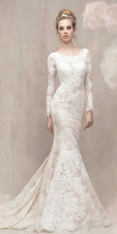 Long Sleeve Mermaid Wedding Dress Modest