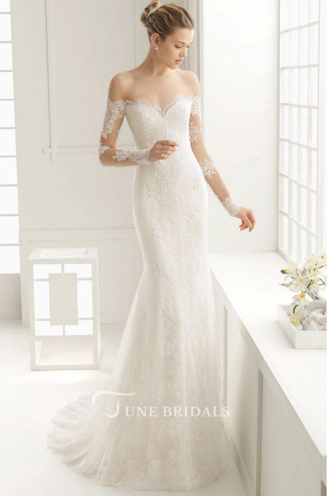Long Sleeve Wedding Dress Lace Mermaid Off Shoulder