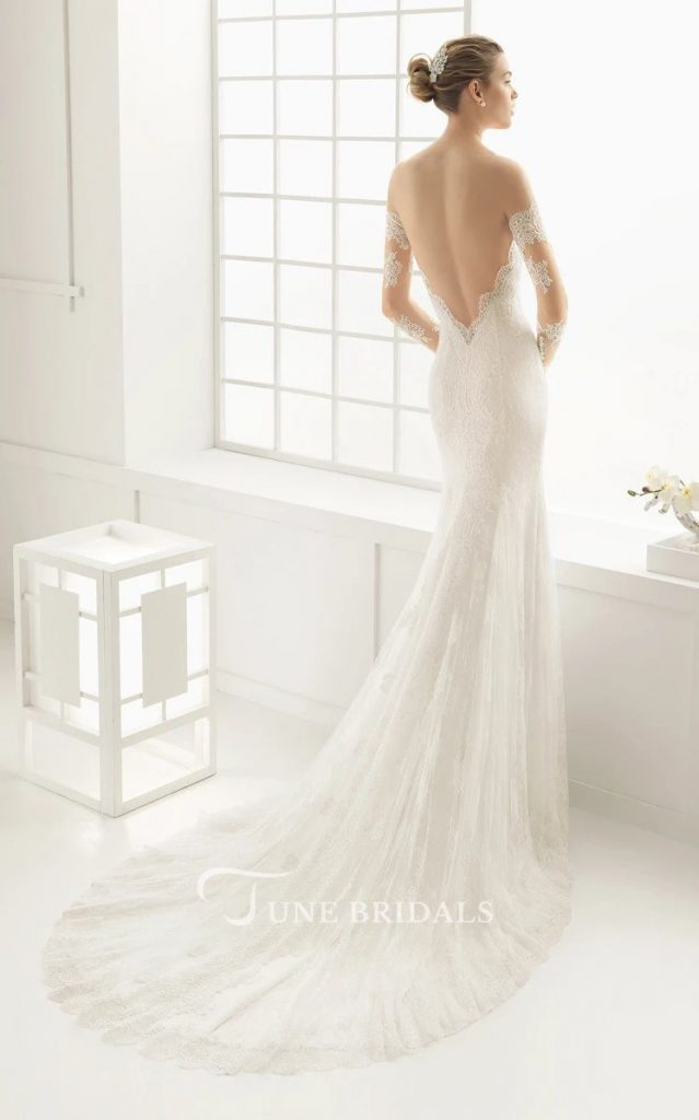 Long Sleeve Wedding Dress Lace Mermaid Open Back
