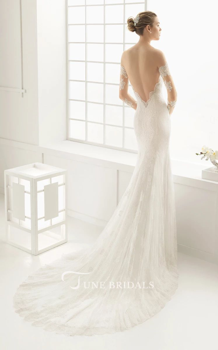 Long Sleeve Wedding Dress Lace Mermaid Open Back