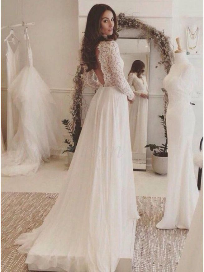 Long Sleeve Wedding Dress Lace V Neck