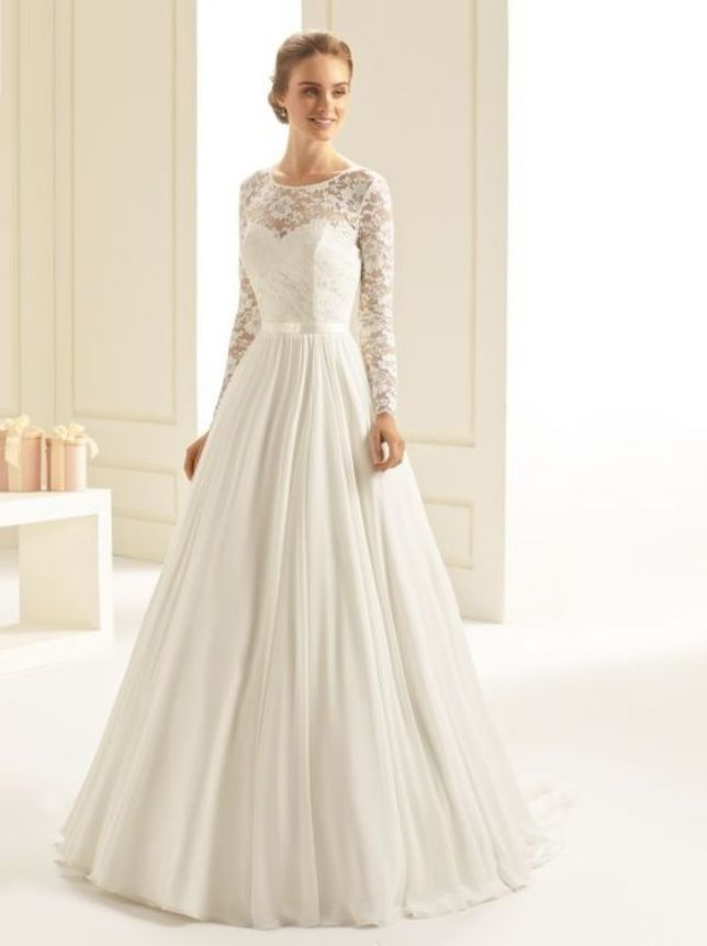 Long Sleeve a Line Wedding Dress Lace Detail