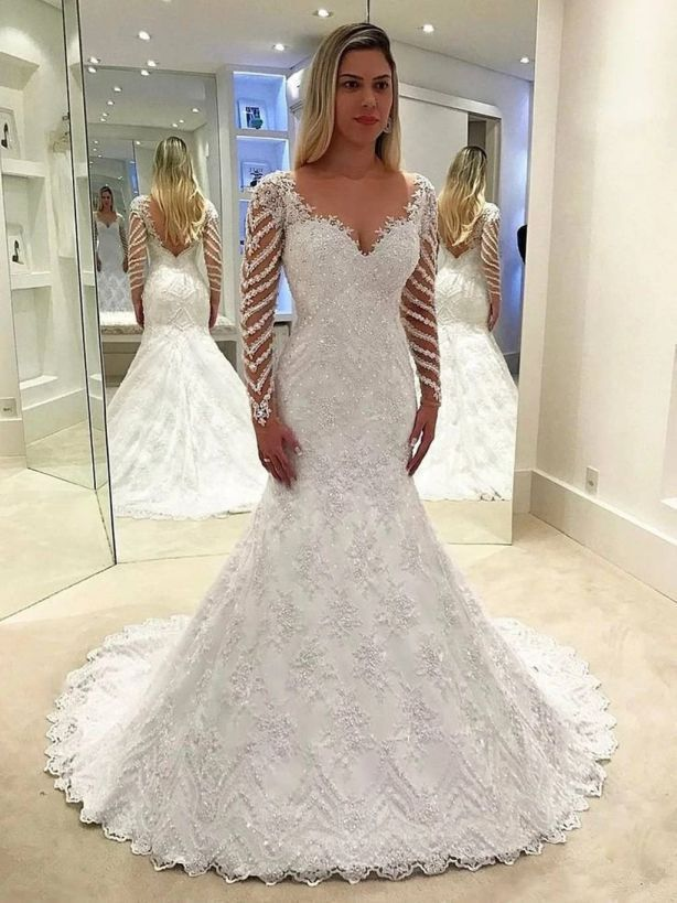 Long Sleeve wedding Dress Lace Beaded