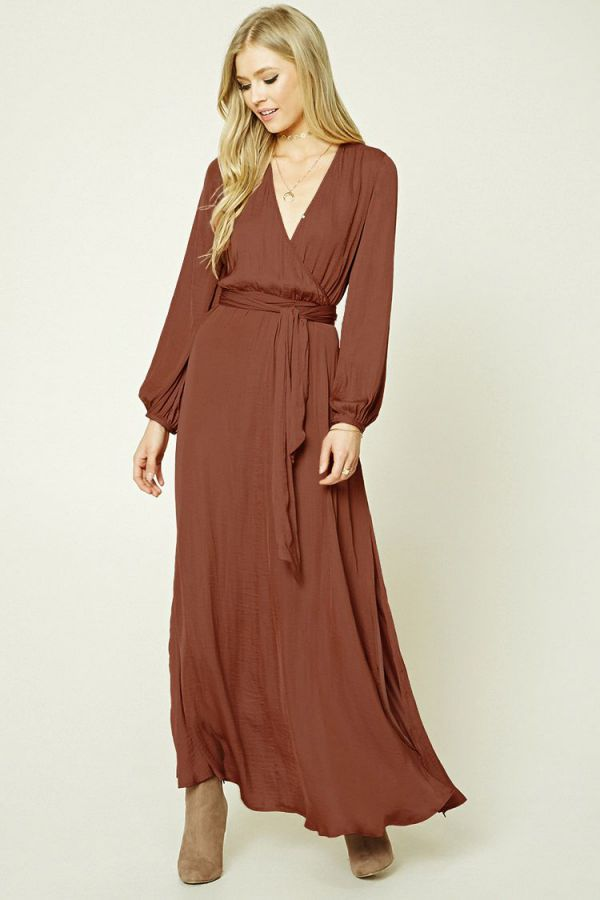 Long Summer Dress Belted Satin Maxi Dress