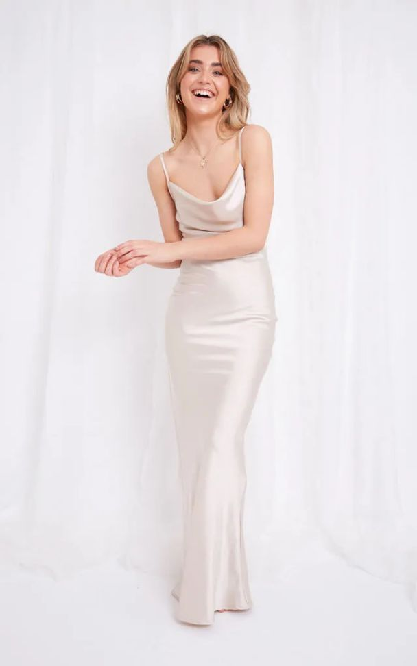 Long Summer Dress Champagne Satin Maxi Dress