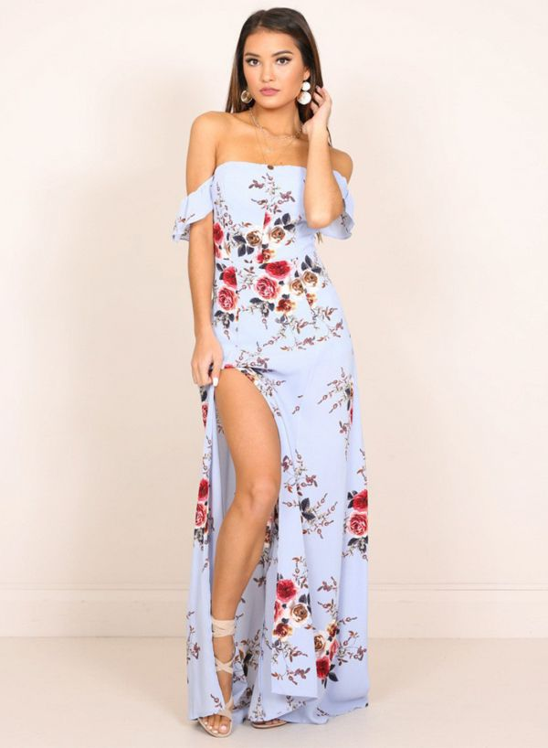 Long Summer Dress Off the Shoulder Sleeves High Slit Dress