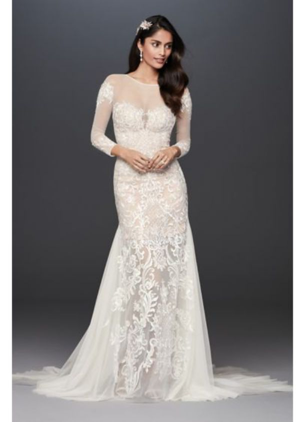 Luxurious Illusion Applique and Tulle Godet Wedding Mermaid Dress
