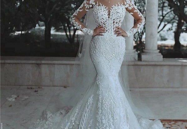 Luxurious Long Sleeve wedding Dress Lace Beaded