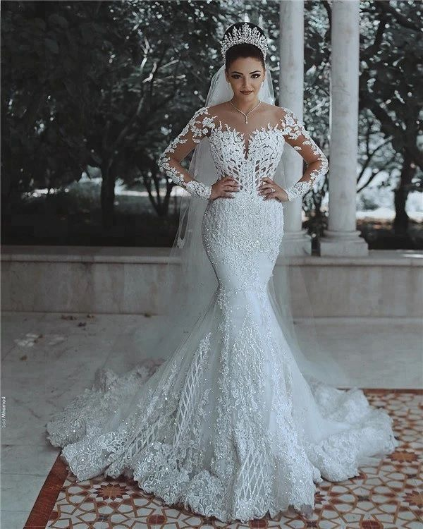 Luxurious Long Sleeve wedding Dress Lace Beaded