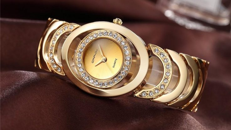 Luxury BrandQuartz Ladies Gold Bracelet Watch