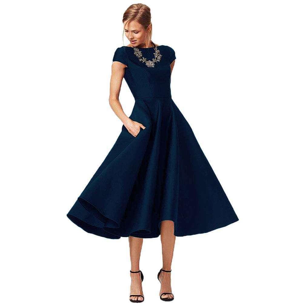 Navy Blue Mother of the Bride Dresses Tea Length