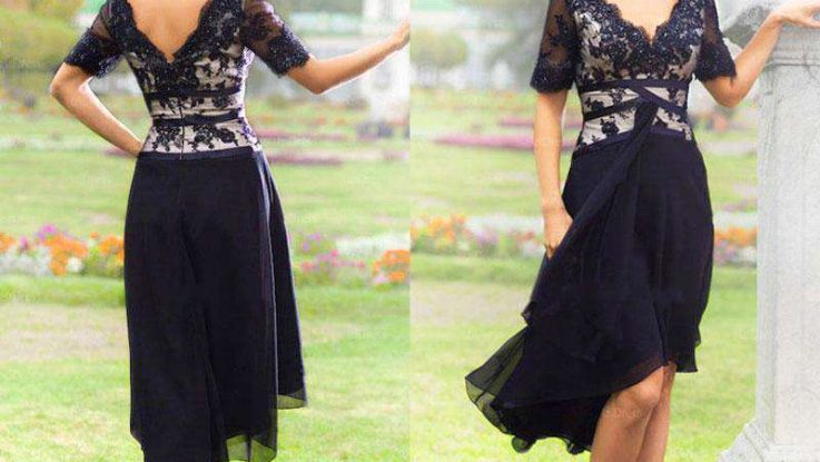 Navy Lace Blue Mother of the Bride Dresses Tea Length