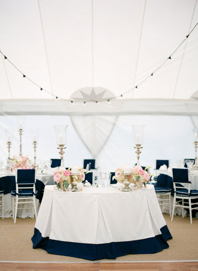 Navy Pink Nautical Table Decorations for Weddings