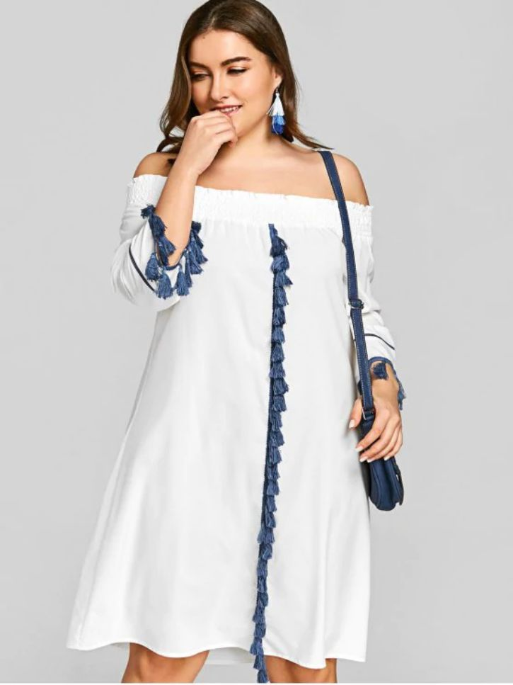 Off Shoulder Dress for Plus Size Womens