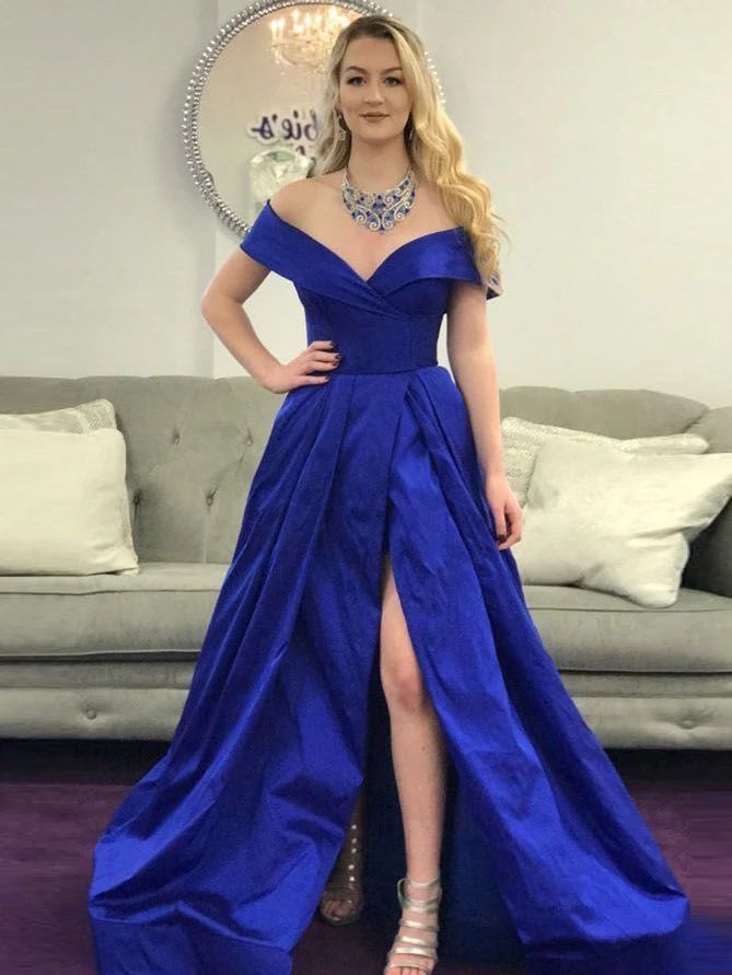 Off the Shoulder A Line Royal Blue Dress