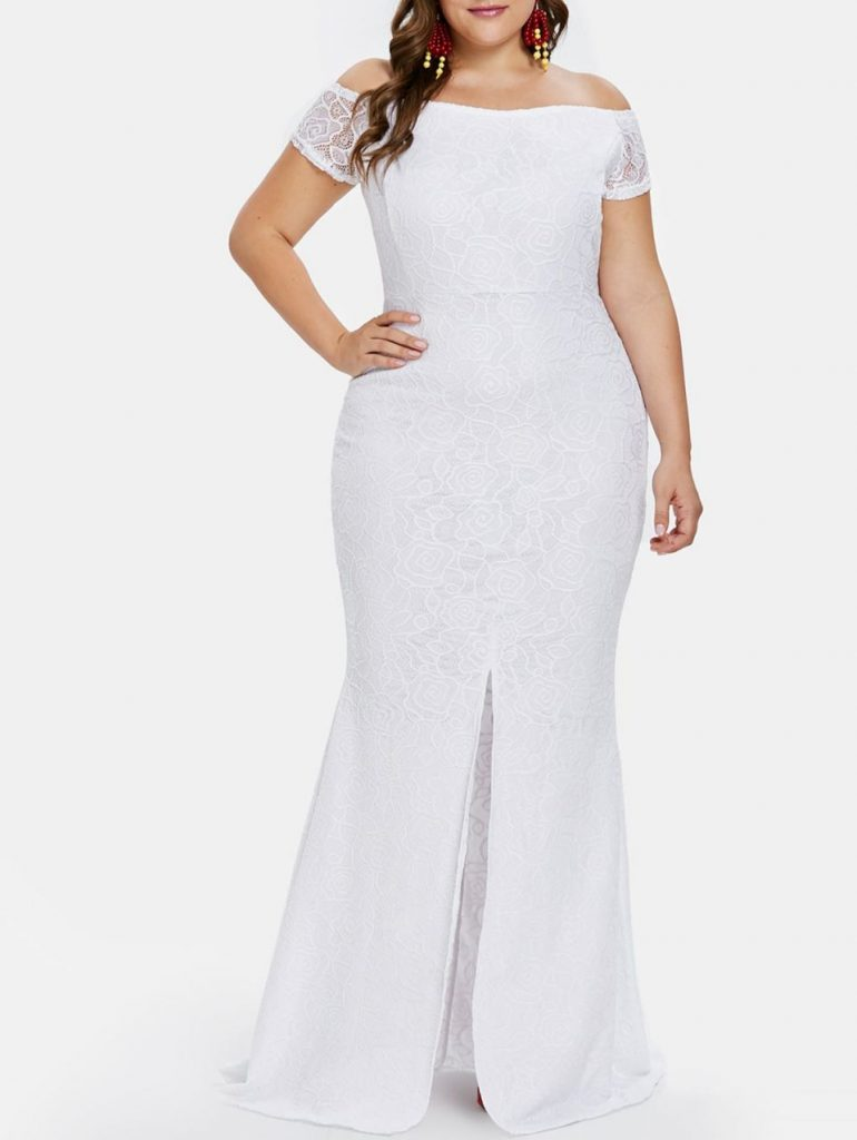 Off the Shoulder Lace Sleeves Maxi Plus Size White Dress