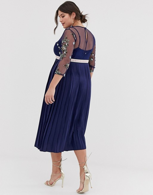 Plus Embroidered Top Midi Dress in Navy Plus Size Bridesmaid Dresses