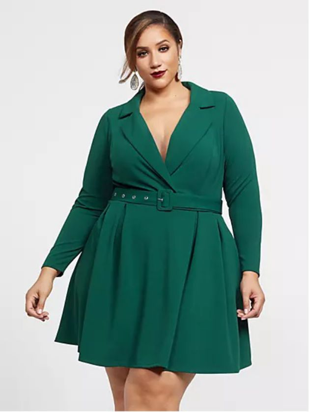 Plus Size Body Wrap Dress in Green