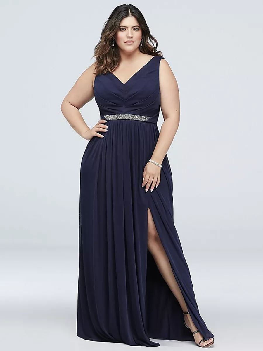 Plus Size Bridesmaid Dresses Side Slit Cut Out Gown in Navy