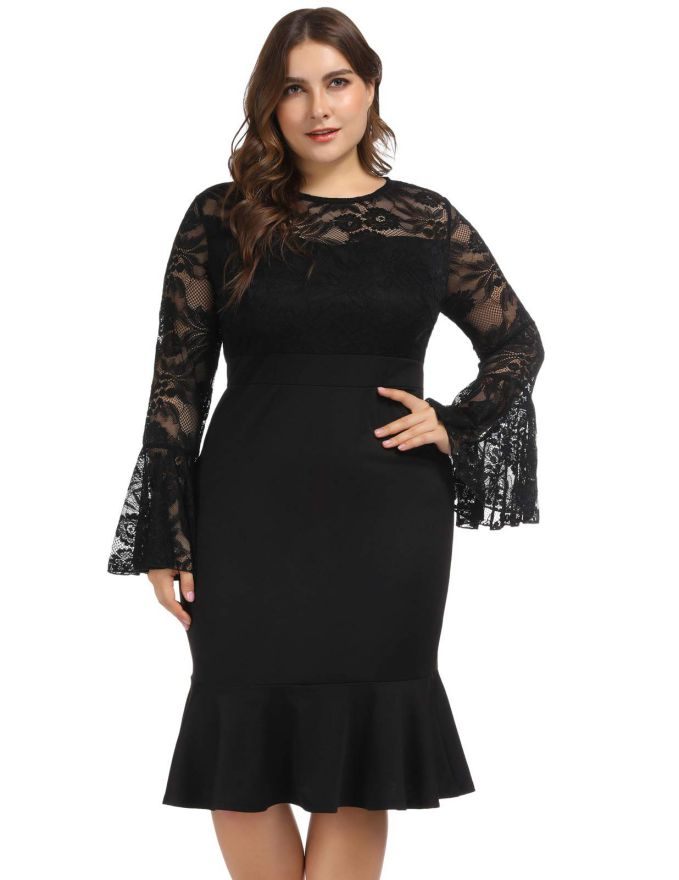 Plus Size Cocktail Dresses Black With Sleeves