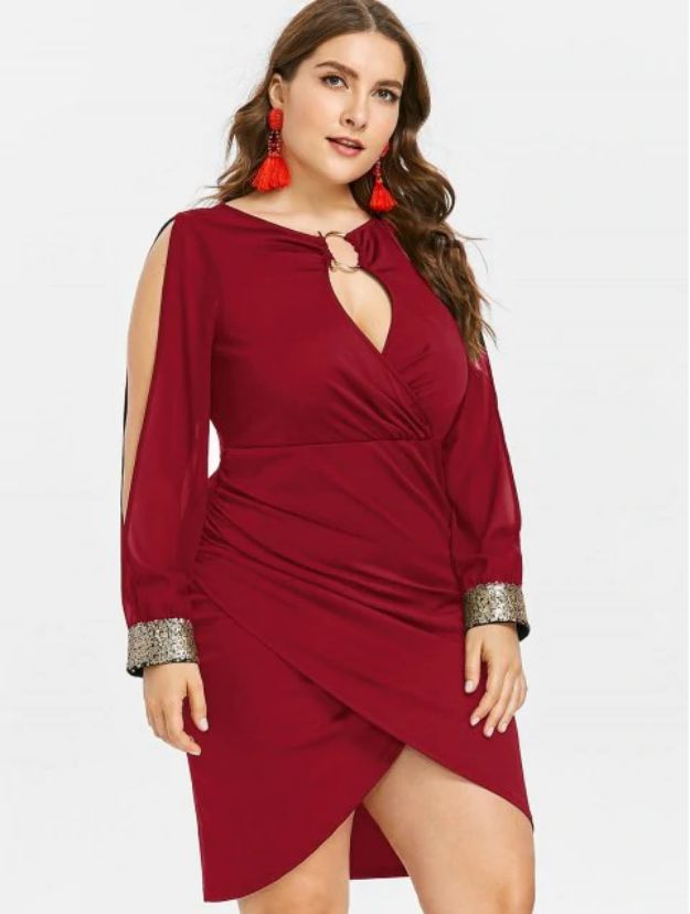 Plus Size Cocktail Dresses Slin on The Sleeves