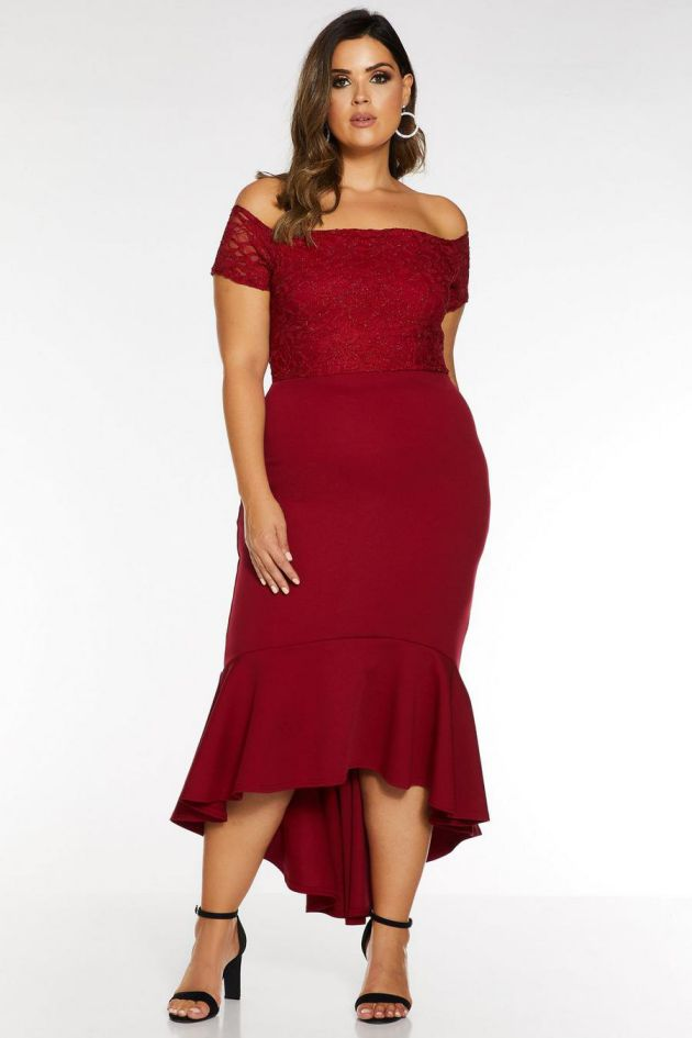 Plus Size Evening Berry Lace Bardot Fishtail Midi Dress