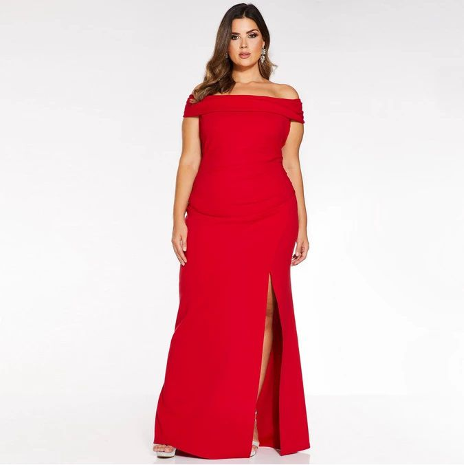 Plus Size Evening Dress Bardot Ruched Fishtail Maxi Dress