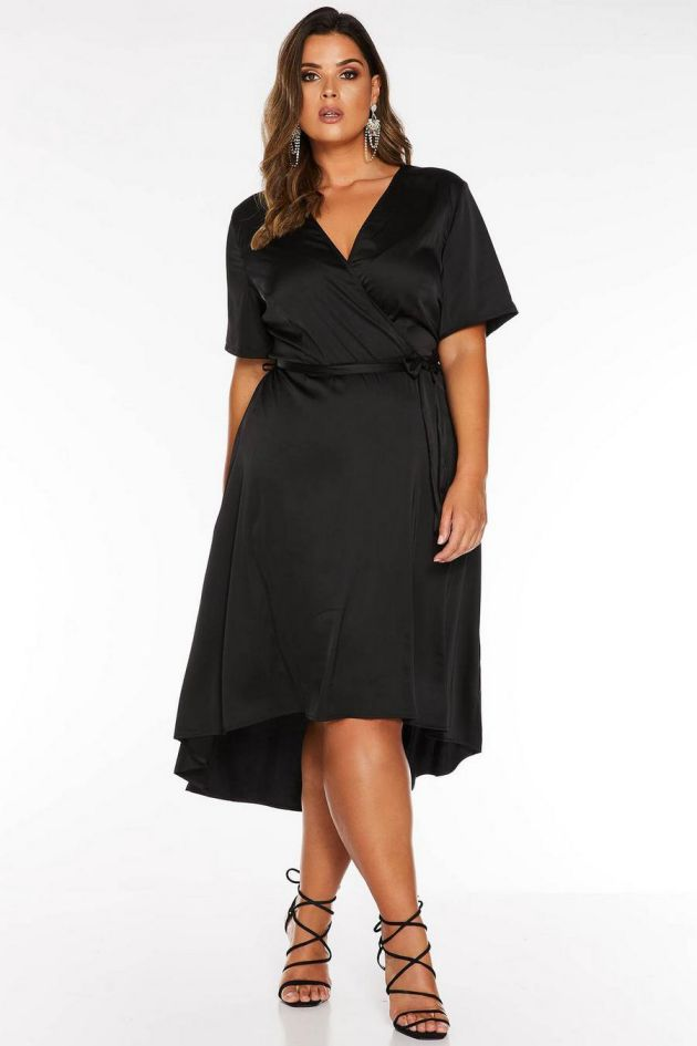 Plus Size Evening Dress Black Satin Wrap Dip