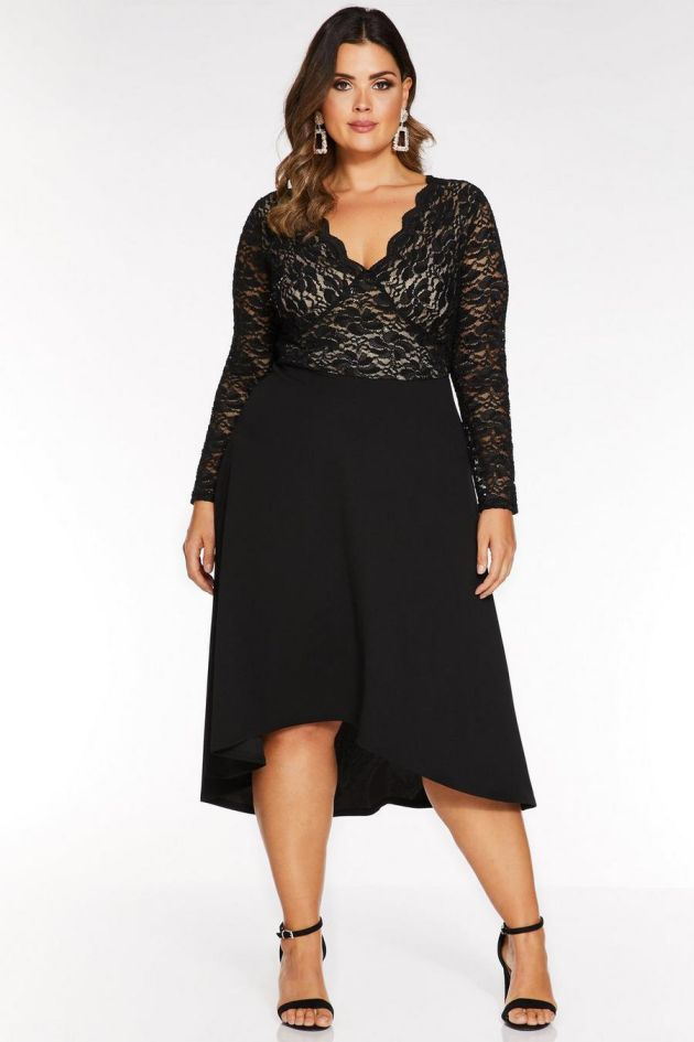 Plus Size Evening Dress Black Sequin Lace Long Sleeves Dip Hem Dress