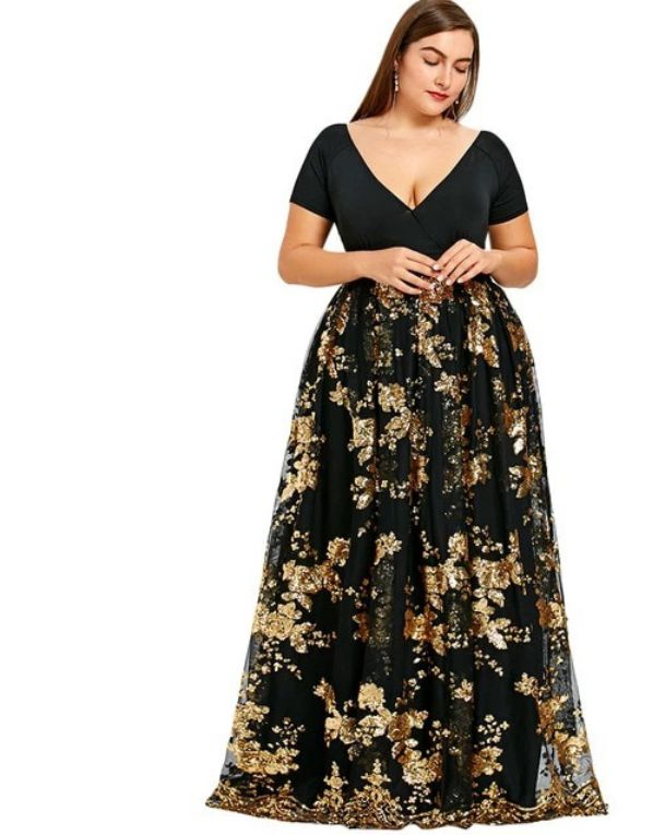 Plus Size Evening Dress Black Sequin V Neck Maxi Dress