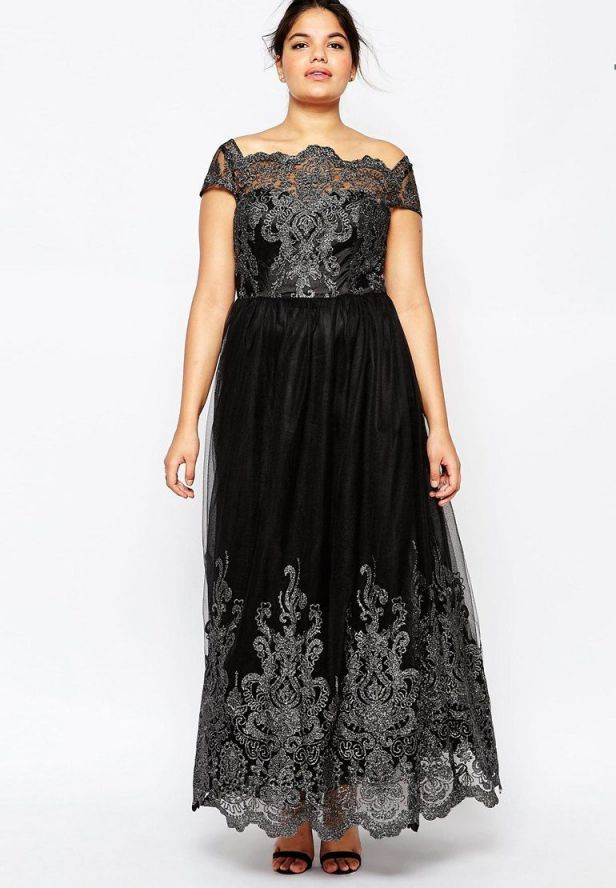 Plus Size Evening Dress Metallic Lace Cap Sleeve Maxi Dress
