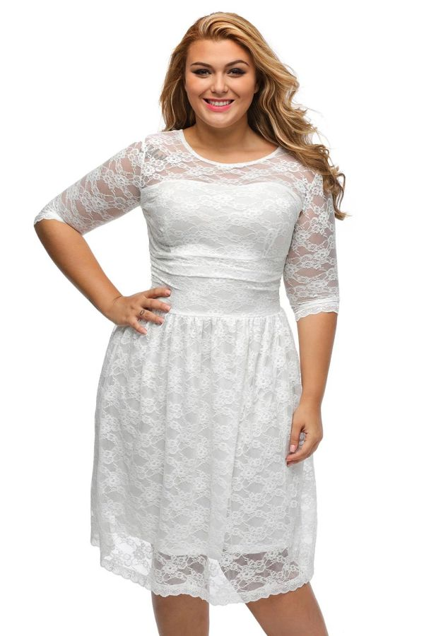 Plus Size Evening Dress White Three Quarter Sleeves Lace Dress