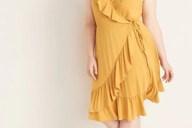Plus Size Evening Dress Yellow V Neck Ruffled Skirt Dress