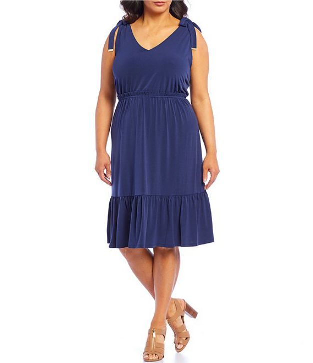 Plus Size Flounce Hem Midi Dress