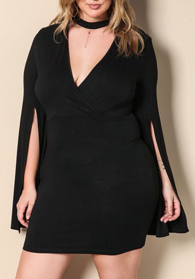 Plus Size Slit Sleeves Dress in Black