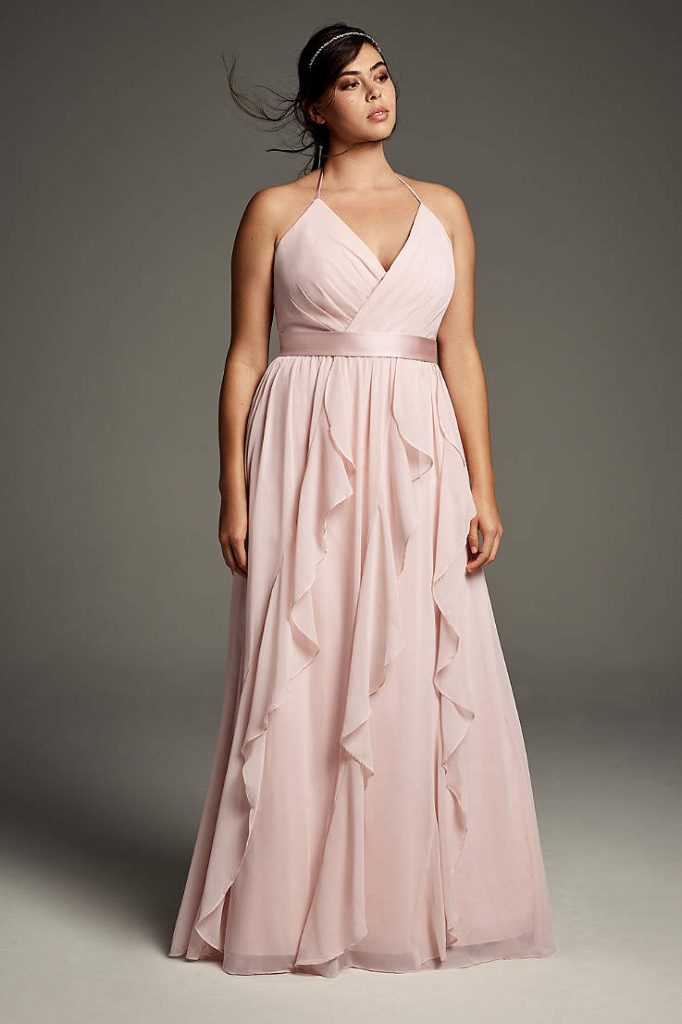 Plus Size Spaghetti Strap Crepe Back Satin Bridesmaid Dress
