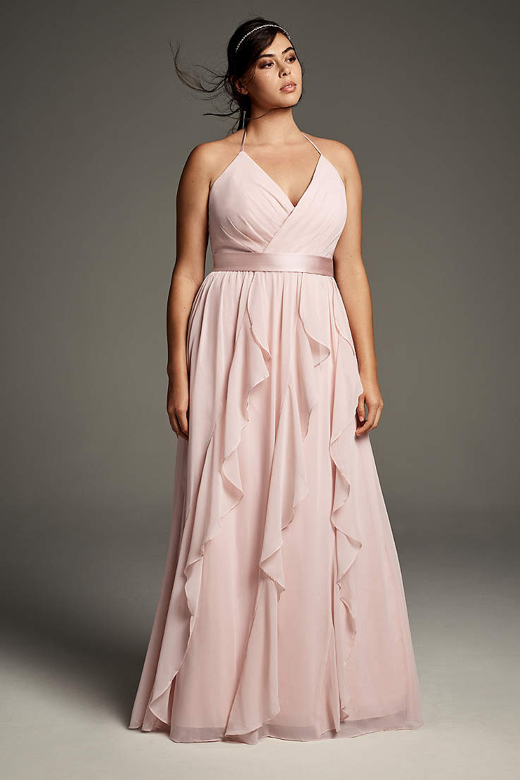 Plus Size Spaghetti Strap Crepe Back Satin Bridesmaid Dress