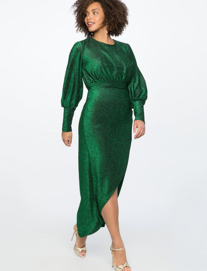 Plus Size Sparkle Maxi Dress with Wrap Skirt