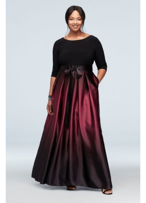 Plus Size Special Occasion Dresses ¾ Sleeve Bodice Ombre Ball Gown