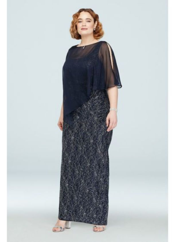 Plus Size Special Occasion Dresses Long Lace Plus Size with Beaded Capelet Dress
