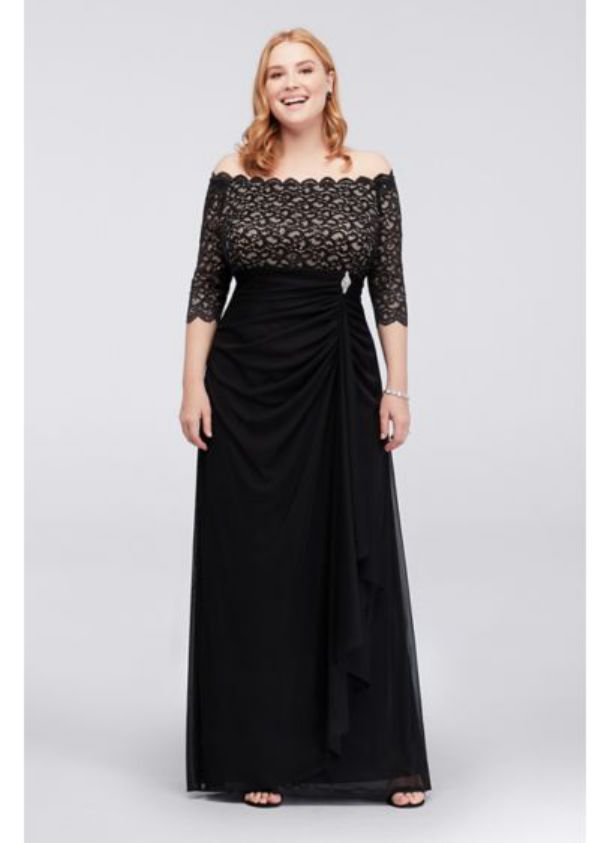 Plus Size Special Occasion Dresses Off the Shoulder with Cascade Dress