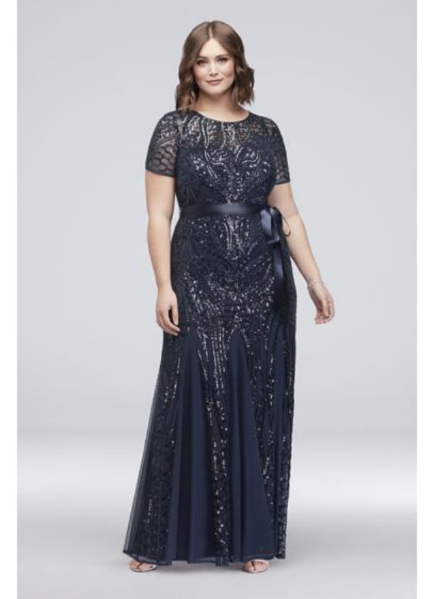 Plus Size Special Occasion Dresses Short Sleeve Sequin Illusion Gown