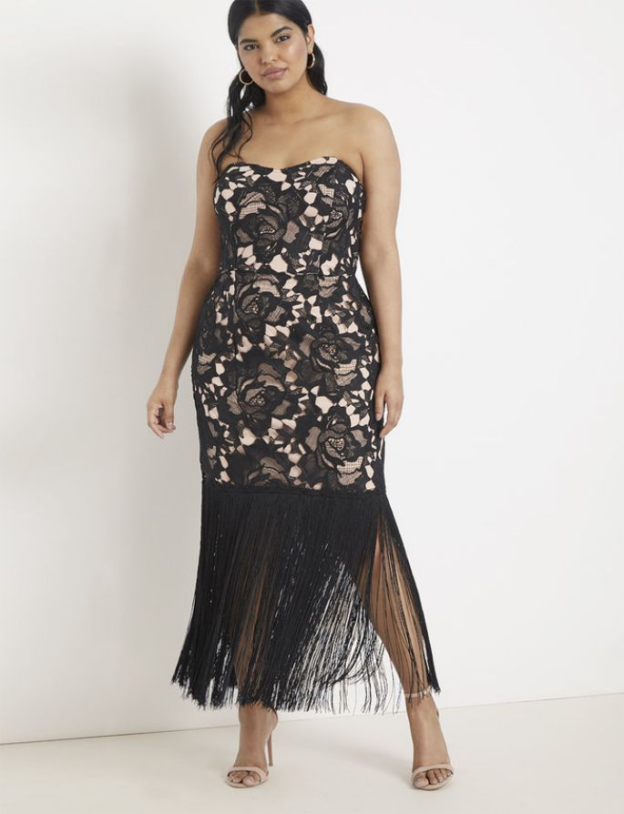 Plus Size Strapless Lace and Fringe Dress