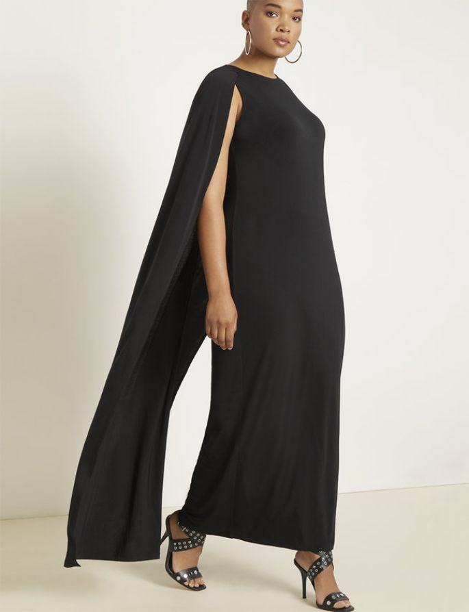 Plus Size Studio Jersey Capelet Gown in Black