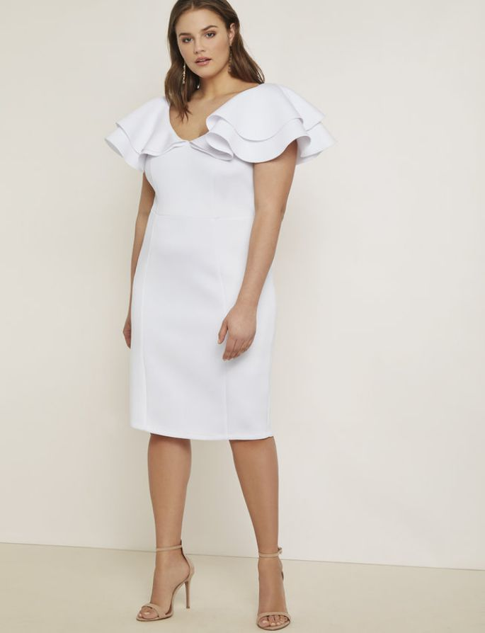Plus Size Triple Ruffle Dress in White