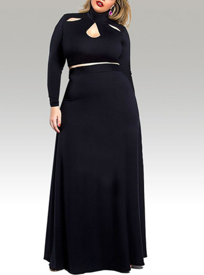 Plus Size Turtleneck Dress with Cutout in Black