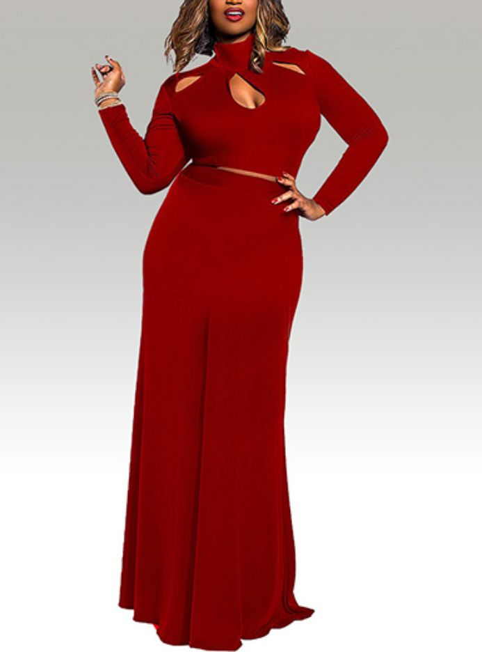 Plus Size Turtleneck Dress with Cutout in Red